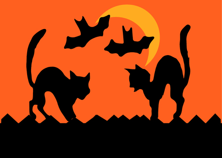 Two cats on a fence square off by arching their backs, bats flying past a crescent moon,  in silhouette. Vector