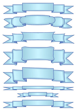 Vector Illustration of eight different light blue banners.