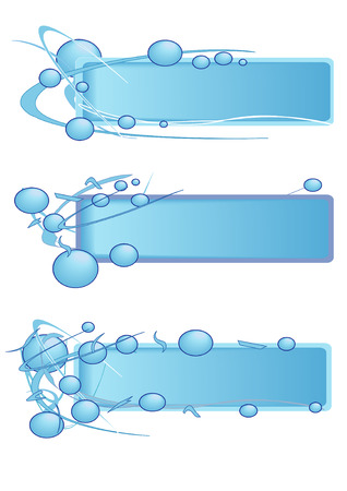 heading: Vector Illustration of blank banners with bubbles in blue.