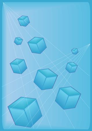 Vector Illustration of 3-D blue blocks on a blue background. Çizim