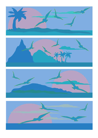 pane: Vector Illustration of four different sea scapes done in blue shades. Illustration