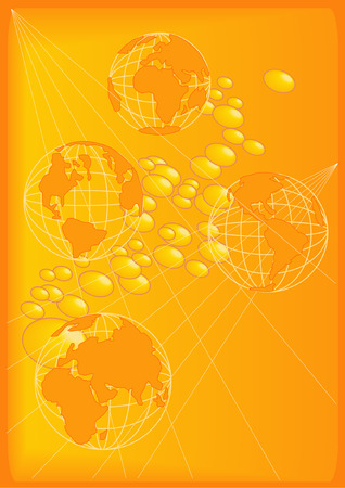 Vector Illustration of planet Earth in four profiles. Over a gold background with golden beads. Illustration