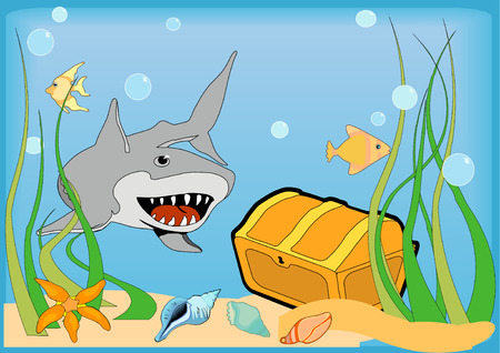 A gold treasure chest on the bottom of the ocean is guarded by a large grey shark. Vector Illustration. Illustration