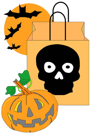 Vector Illustration of a Halloween candy bag with a skull on it, a jack-o-lantern and some bats.  Vector