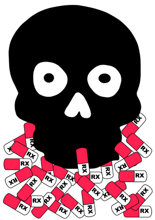 Vector Illustration of a black skull with prescription capsules around the base.