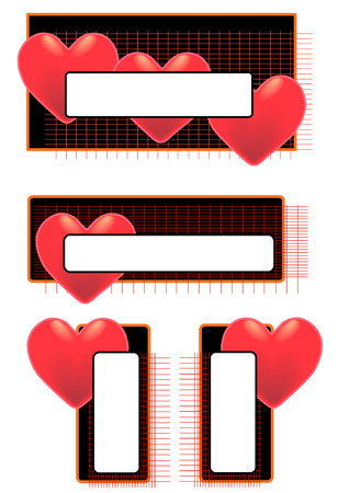 product display: Vector Illustration of red hearts on tags with blank space for text.