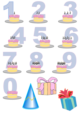 displayed: Hand drawn vector illustration of birthday cakes with candles representing the numbers displayed.