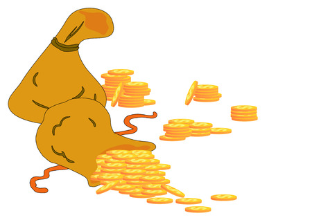 Bag of gold coins: Vector Illustration of two money bags with gold dollar coins spilling out of one. Hình minh hoạ