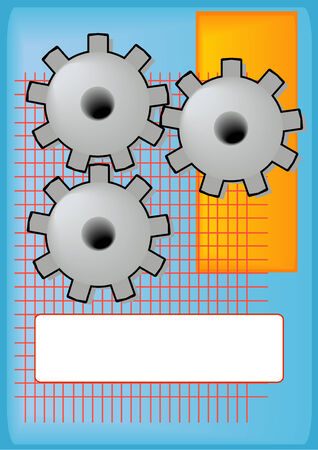 Vector Illustration of grinding gears with a blank tag for text.