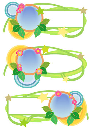 trio: Vector Illustration of pink, green, blue and yellow floral tag trio