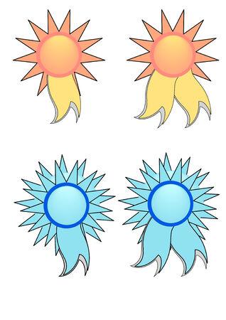 A Vector Illustration of Blue and Yellow Award Ribbons