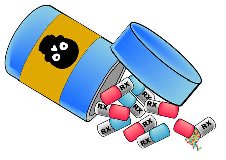 poison bottle: A vector illustration of pills falling out of a pill bottle with a skull on the bottle