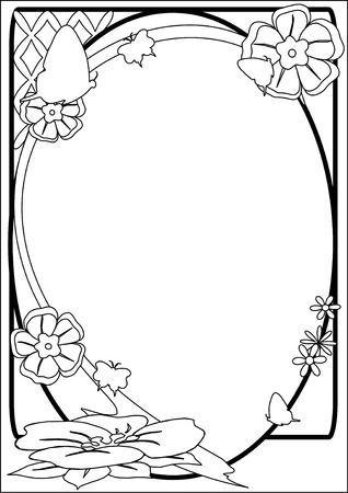 A vector illustration of a  black and white flower border with a
