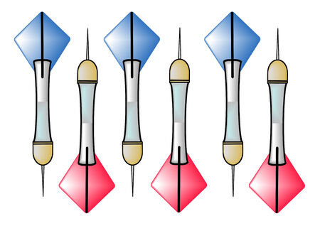vectore: A vectore illustration of three blue darts and three red darts isolated on a white background Illustration