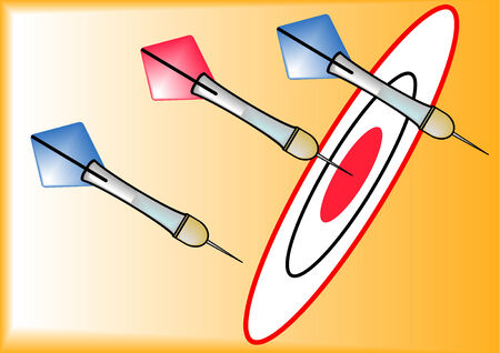 A vector illustration of red and blue darts on a dart board