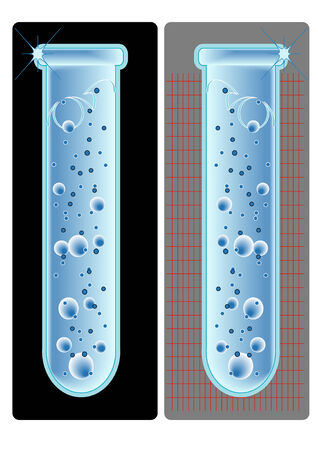 A vector illustration of two test tubes, one on a gray background, one a black background