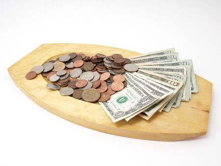 US Currency on Wood Tray Stock Photo - 4454873