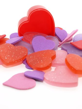 Several pink, purple and red hearts isolated on a white background Stock Photo