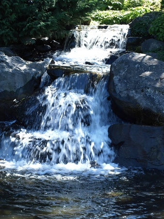 A small waterfall area in a river stream