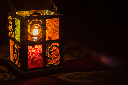 Candle lantern box with small glass windows. Stock Photo