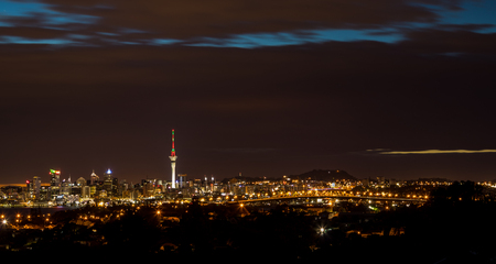 The wonderful city of Auckland a night with the sky tower lights.