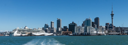New Zealands largest city with a large ship in port.