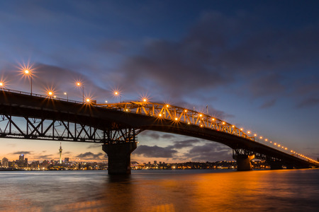 Bridge  over the City of Auckland a dawn. Stock Photo