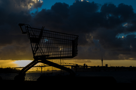 Supermarket Trolley by the waterfront of Auckland Harbour.