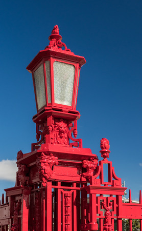 One very red lamp post can be found along Auckland waterfront. Stock Photo