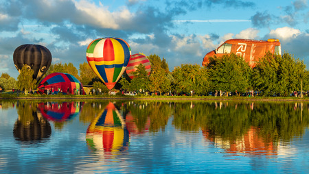 Hot air balloons at Henley Lake, Masterton, New Zealand.