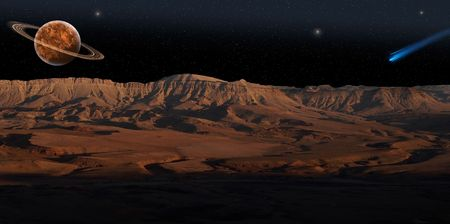 Panoramic view on red planet under the starry sky. photo