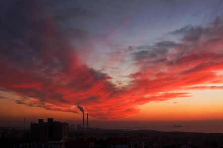 Beautiful sunset sky over the city of Ashkelon.