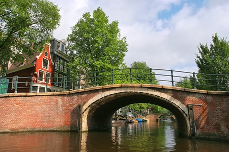 amstel: Small bridge over Amstel river in Amsterdam, Netherlands (Holland). Stock Photo