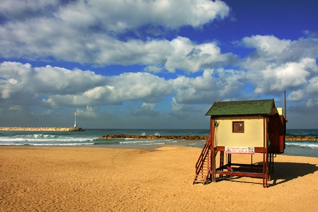 View on public beach on Mediterranean Sea under the cloudy sky in Ashqelon, Israel. Stock Photo - 9807372