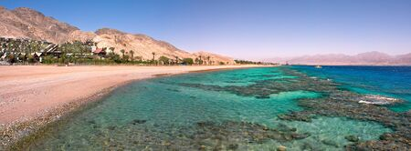 Panoramic view on Red Sea coastline at famous touristic resort in Eilat, Israel. photo