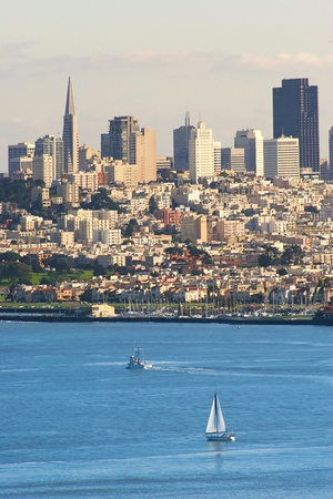 Vertical oriented image of San Francisco downtown as seen from Golden Gate Bridge, California, USA.