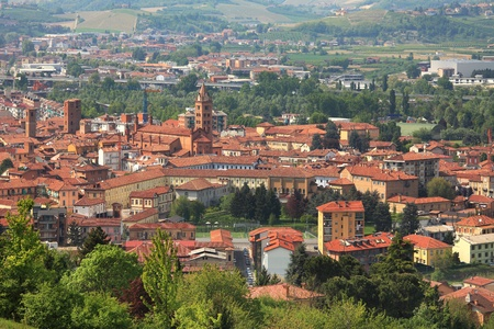 alba: Aerial view on San Lorenzo cathedral and old town of Alba in Piedmont, northern Italy.