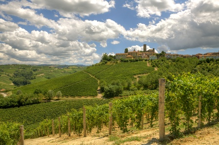View on vineyards and small town on the hill in Piedmont, northern Italy. Stock Photo