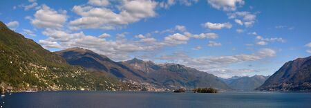 maggiore: Panoramic view on Lake Maggiore and mountains in Switzerland. Stock Photo