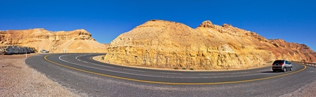 Panoramic view on highway among the mountains in Arava Desert, Israel. photo
