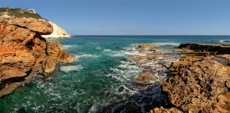 Panoramic view on rocks and Mediterranean sea in northern Israel. photo