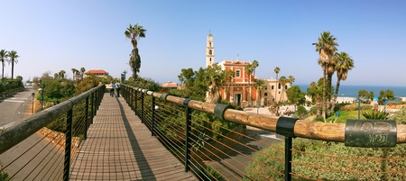 Panoramic view on old catholic church in historic center of Yafo, Israel. photo