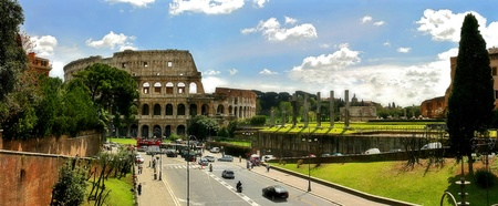 Panoramic view on ruins of famous Coliseum (Colosseum) in Rome, Italy.