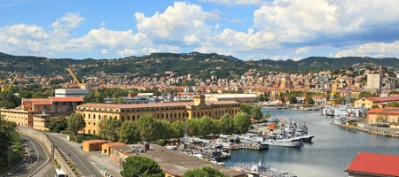 spezia: Panoramic view on city of La Spezia and military naval base in Italy.