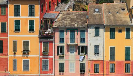 View on old multicolored houses of Portofino - small town on Ligurian sea in northern Italy. photo