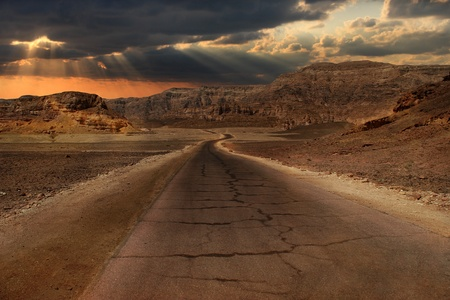 desert highway: Beautiful sunset over hills and mountains of Arava desert in Israel.
