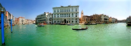 romantic places: Panorama of famous Grand Canal and historic buildings in Venice, Italy. Stock Photo