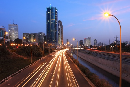 Evening view on Ayalon highway and modern buildings at down town of Tel Aviv, Israel. Stock Photo - 10462685