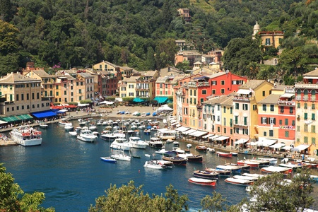 Aerial view on small harbor and Portofino - small town on Ligurian sea in northern Italy. Stock Photo - 10532697