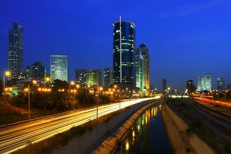 Tel Aviv downtown and Ayalon freeway at night. Stock Photo - 10532704